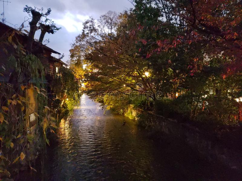 Gion Old Kyoto, Japan Twilight. Twilight falls upon old quarter of Gion in Kyoto Japan. Pleasant afternoon royalty free stock photography