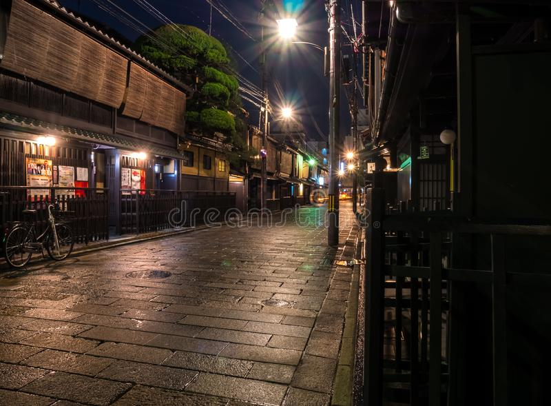 Gion Old Street in Kyoto stock afbeeldingen
