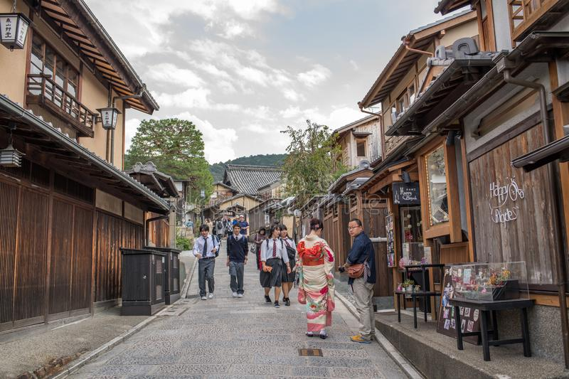 Gion Shijo Kyoto, the Old Town part of Kyoto. Kyoto, Japan: October 19, 2018: People walking in Gion Shijo Kyoto, the Old Town part of Kyoto. Kyoto has a stock image