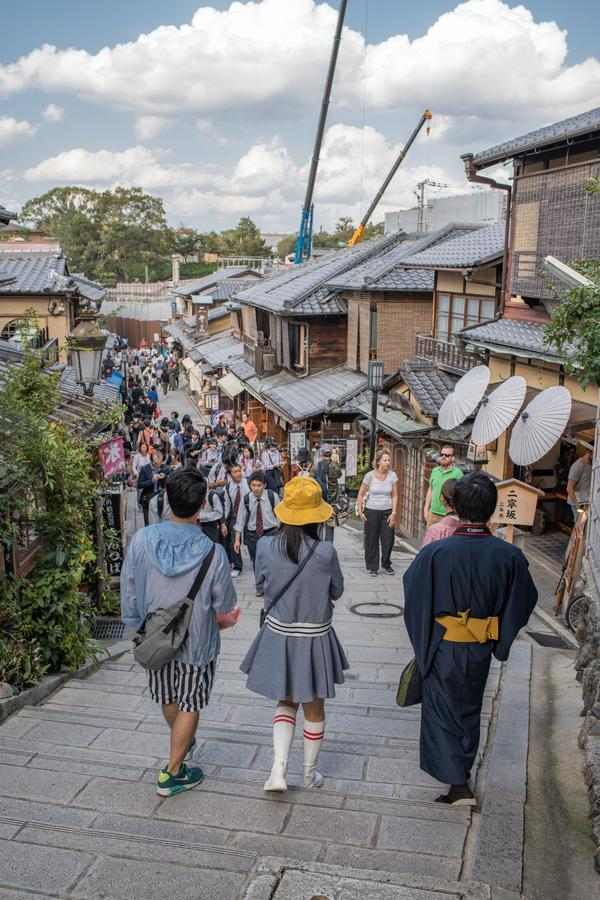Gion Shijo Kyoto, the Old Town part of Kyoto. Kyoto, Japan: October 19, 2018: People walking in Gion Shijo Kyoto, the Old Town part of Kyoto. Kyoto has a stock photo