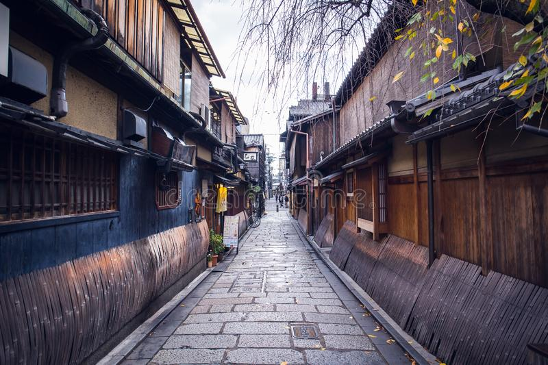 Gion street. Kyoto, Japan - November 20, 2018: At Gion, these preserved machiya houses many of which now function as restaurants, serving Kyoto style kaiseki stock photo