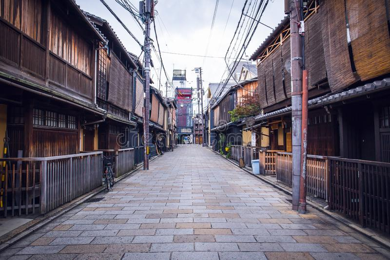 Gion street. Kyoto, Japan - November 20, 2018: At Gion, these preserved machiya houses many of which now function as restaurants, serving Kyoto style kaiseki royalty free stock photo