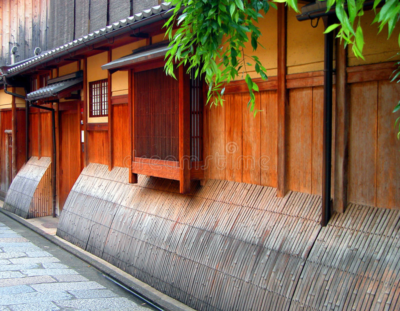 Gion wooden house. Detail image of a very specific wooden house in Gion,geisha ward in Kyoto,Japan stock photos