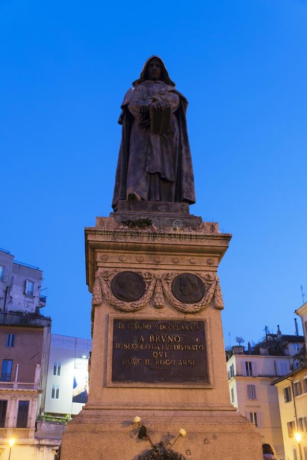 Giordano Bruno på Campo Dei Fiori i Rome, Italien royaltyfri foto