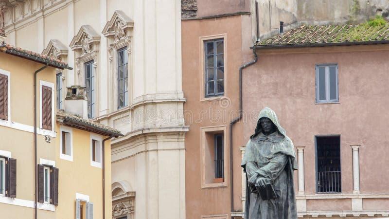 Giordano Bruno staty i Campo de Fiori, Rome, Italien arkivbilder