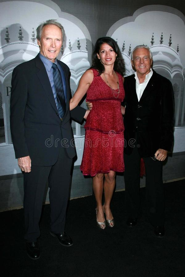 Giorgio Armani, Clint Eastwood,第纳Eastwood 库存图片