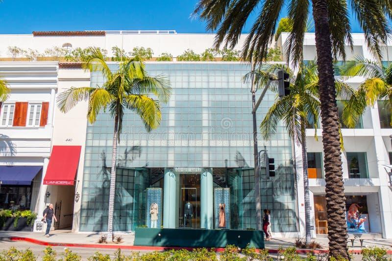 Giorgio Armani lager på Rodeo Drive i Beverly Hills - KALIFORNIEN, USA - MARS 18, 2019 arkivbild