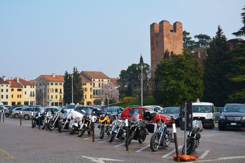 Giorgione广场在科内利亚诺,威尼托,意大利 库存图片