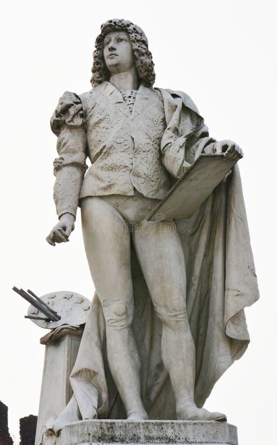 Giorgione marmeren standbeeld, marmeren standbeelden, kasteel in Castelfranco Veneto, in Italië royalty-vrije stock foto