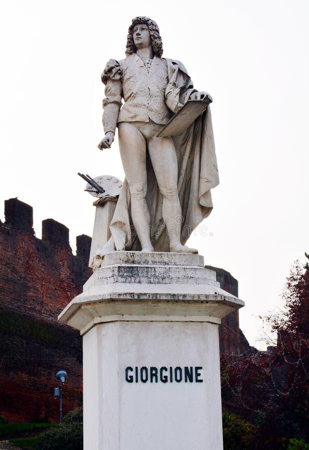 Giorgionestandbeeld, marmeren standbeelden, kasteel in Castelfranco Veneto, in Italië royalty-vrije stock afbeeldingen