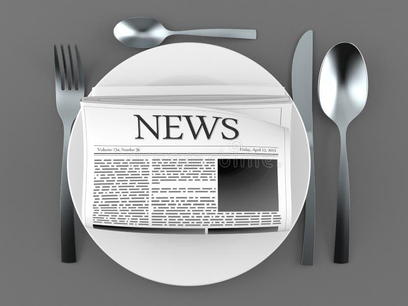 Giornale con il piatto e la coltelleria illustrazione vettoriale