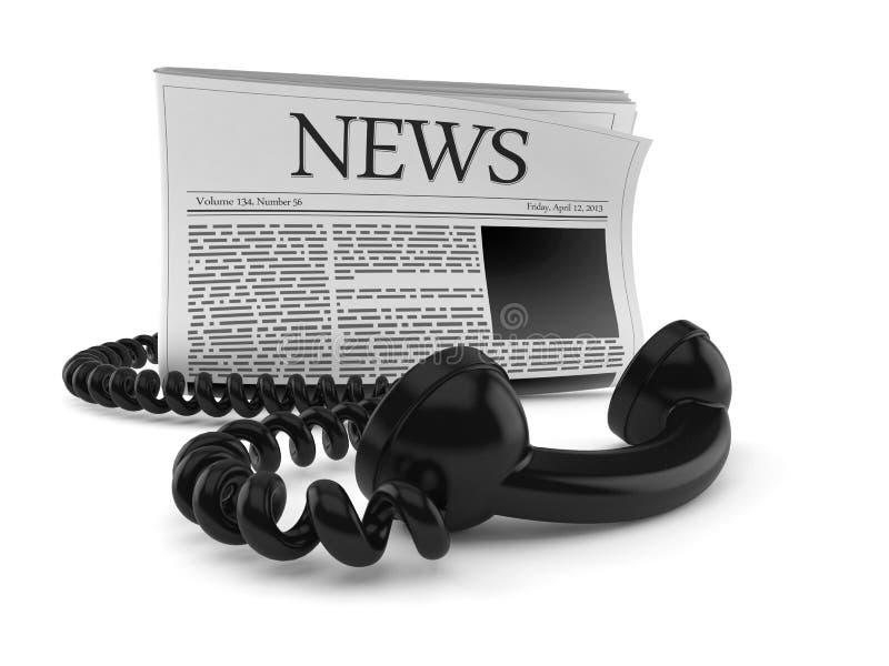 Giornale con il telefono illustrazione di stock