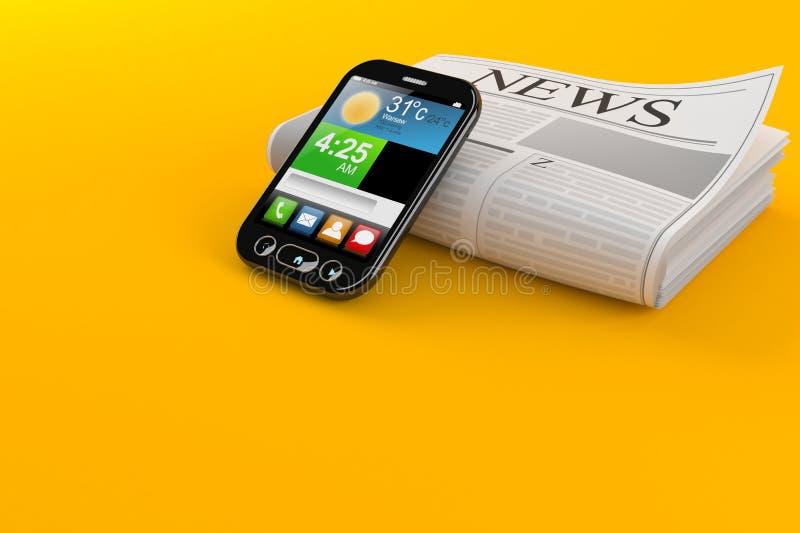 Giornale con lo Smart Phone illustrazione vettoriale