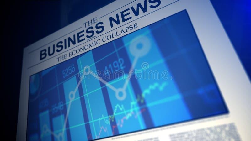 Giornale con notizie dal mondo degli affari Profondità del campo poco profonda illustrazione vettoriale