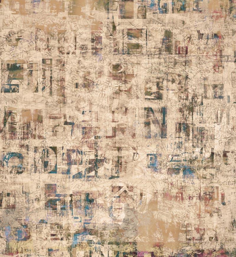 Giornale del collage di lerciume, lettere della rivista su carta lacerata dipinta, fondo graffiato incrinato illustrazione di stock