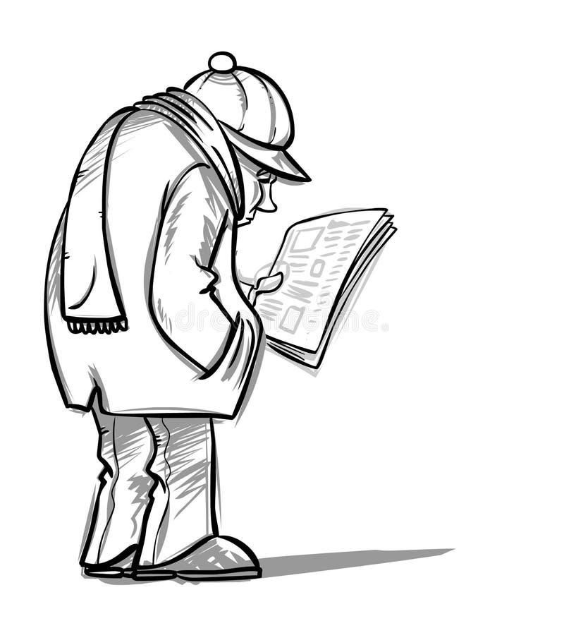 Giornale della lettura del passante illustrazione vettoriale