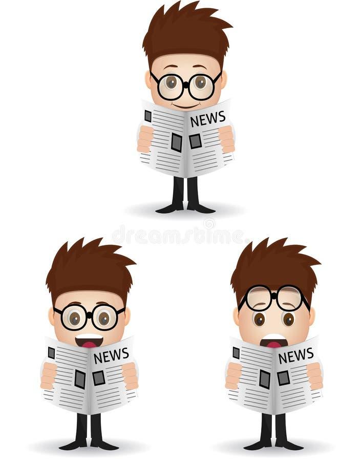 Giornale della lettura del personaggio dei cartoni animati illustrazione vettoriale
