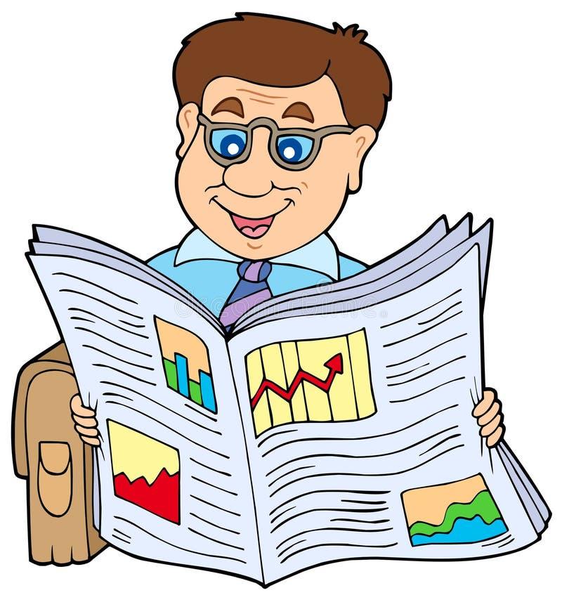 Giornale della lettura dell'uomo d'affari royalty illustrazione gratis