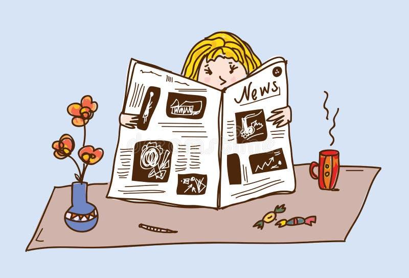 Giornale della lettura della ragazza alla tabella di tè illustrazione vettoriale