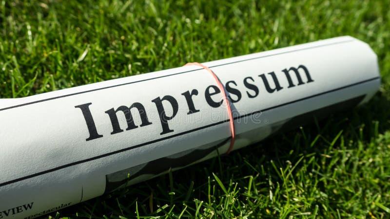 Giornale di Impressum fotografia stock