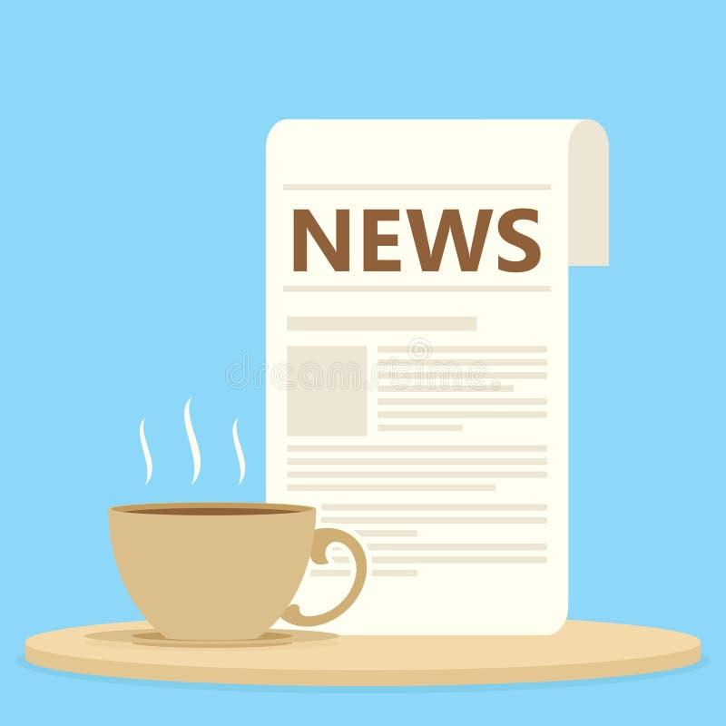 Giornale di mattina con caffè o tè illustrazione di stock