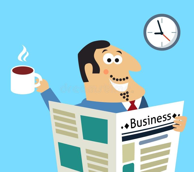 Giornale e caffè di mattina di affari illustrazione vettoriale