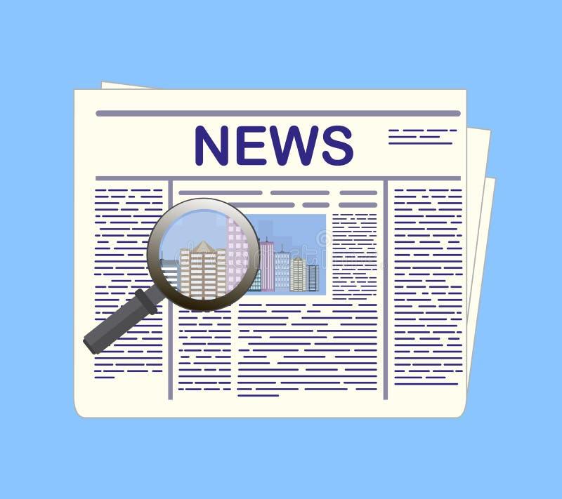 Giornale e lente d'ingrandimento Carta di notizie Illustrazione di vettore illustrazione vettoriale