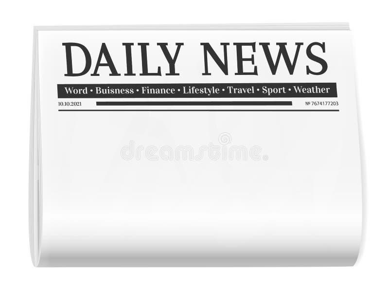 Giornale piegato Fondo in bianco per il modello della pagina di notizie royalty illustrazione gratis