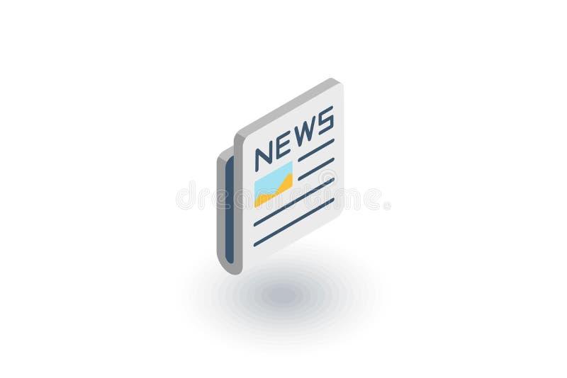 Giornale, stampa quotidiana, contenuto di notizie, icona piana isometrica dell'articolo vettore 3d illustrazione vettoriale