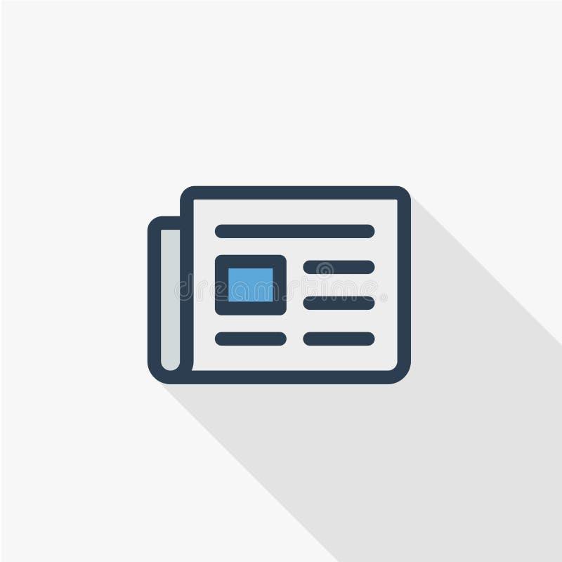 Giornale, stampa quotidiana, contenuto di notizie, linea sottile icona piana dell'articolo di colore Simbolo lineare di vettore O illustrazione di stock