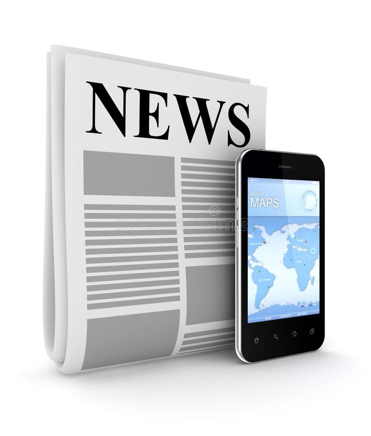 Giornale stilizzato e telefono mobile moderno for Mobile telefono