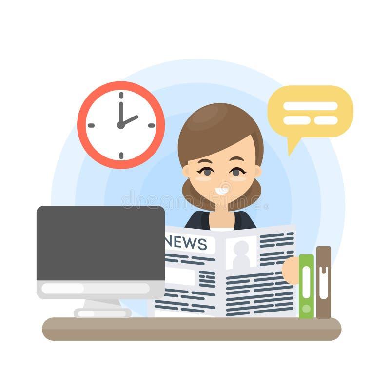 Giornale sul lavoro illustrazione vettoriale