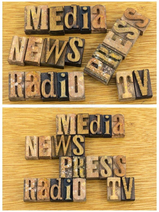 Giornalismo della stampa TV della radio di notizie di media fotografie stock