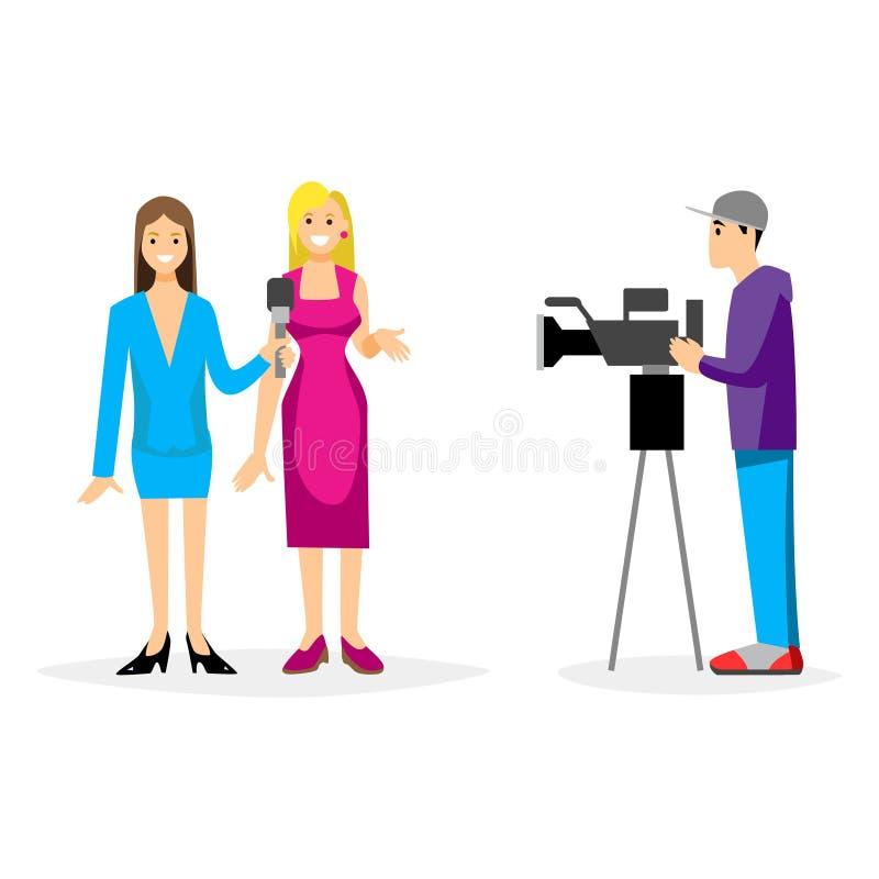 Giornalista dell'illustrazione TV di vettore che prende intervista in macchina fotografica anteriore royalty illustrazione gratis