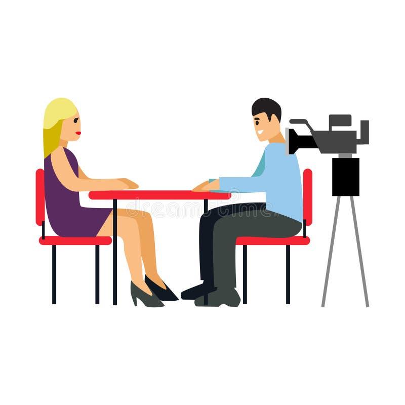 Giornalista dell'illustrazione TV di vettore che prende intervista in macchina fotografica anteriore illustrazione di stock