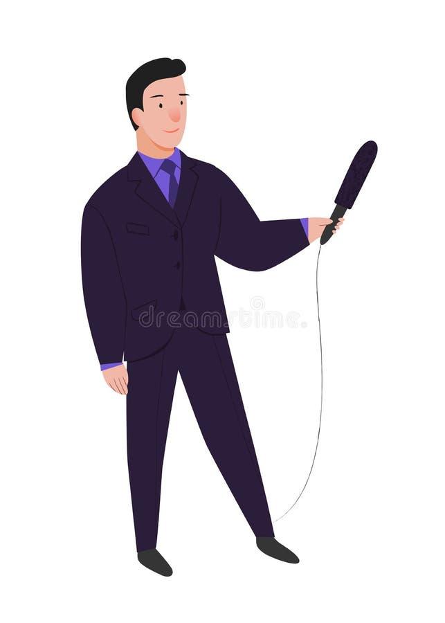 Giornalista Man il reporter con il microfono nelle interviste delle mani Uomo nella posa stante in vestito Illustrazione di vetto illustrazione vettoriale