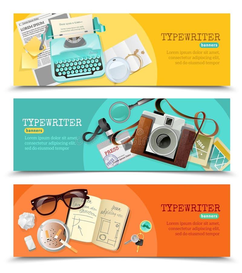 Giornalista Vintage Typewriter Banners royalty illustrazione gratis