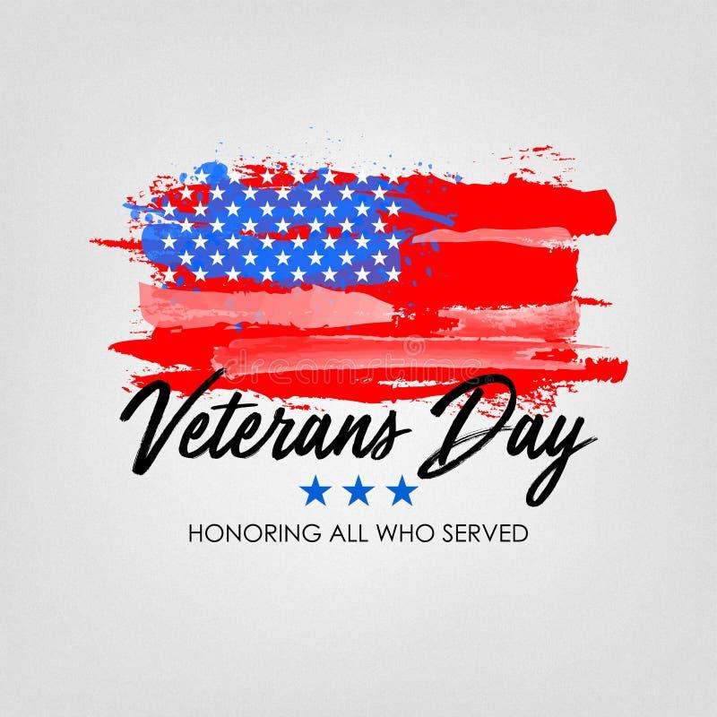 Giornata dei veterani con il fondo della bandiera di U.S.A. Progettazione del manifesto di Memorial Day Onorando tutti che servis immagini stock libere da diritti