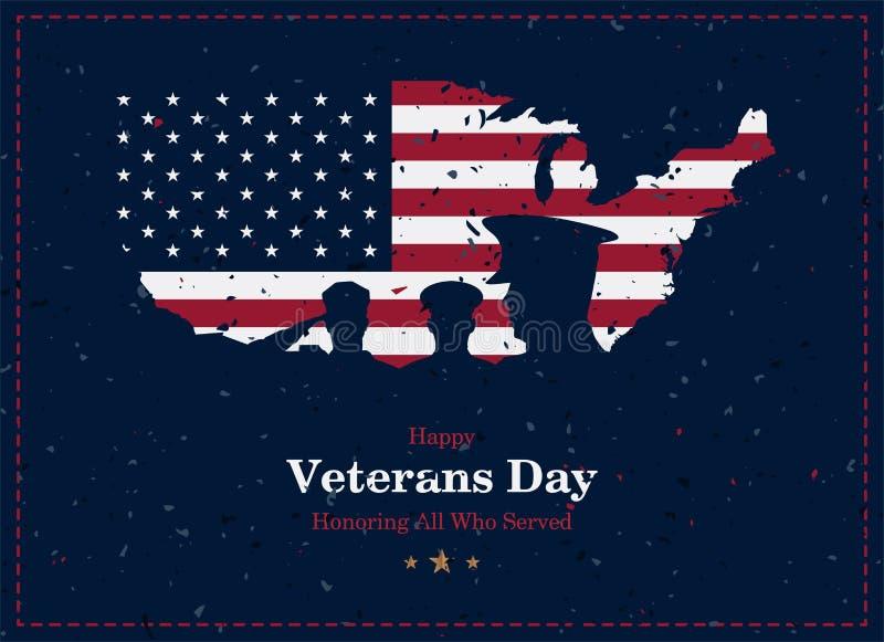 Giornata dei veterani felice Cartolina d'auguri con la bandiera, la mappa ed i soldati di U.S.A. su fondo con struttura Evento am royalty illustrazione gratis