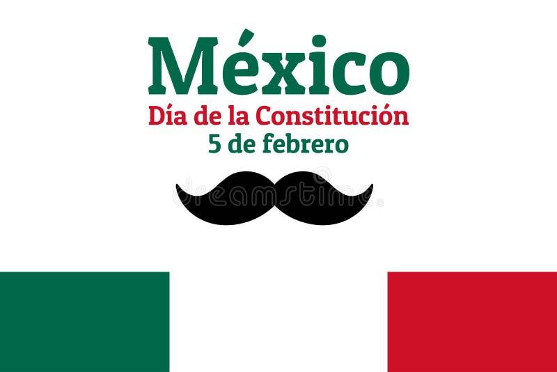 Giornata della Costituzione in Messico con bandiera nazionale, baffi e iscrizione Messico, Festa della Costituzione, 5 febbraio illustrazione vettoriale