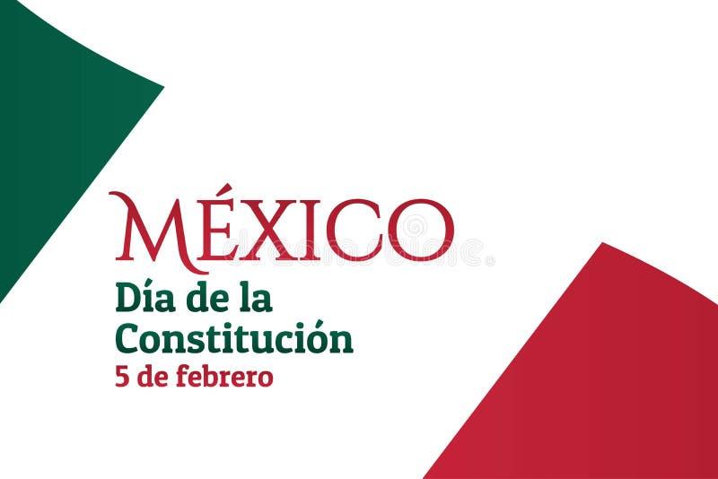 Giornata della Costituzione in Messico con bandiera nazionale e iscrizione Messico, Festa della Costituzione, 5 febbraio in spagn illustrazione di stock