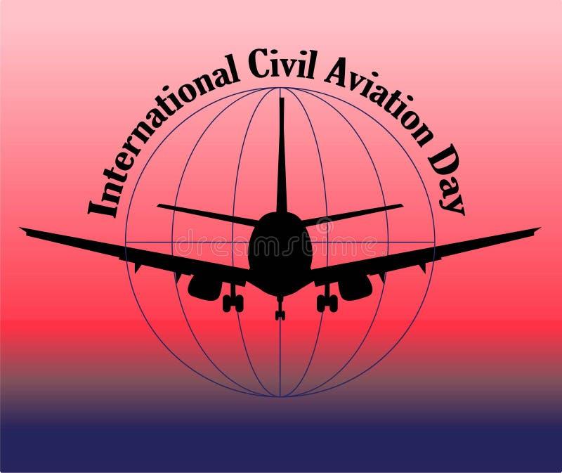 Giornata internazionale dell'aviazione civile Striscione o pubblicità della compagnia aerea vettore aereo passeggeri illustrazione di stock