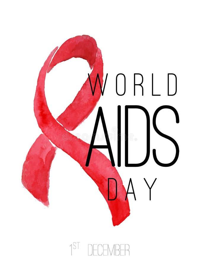 Giornata mondiale contro l'AIDS Nastro di rosso dell'acquerello fotografia stock