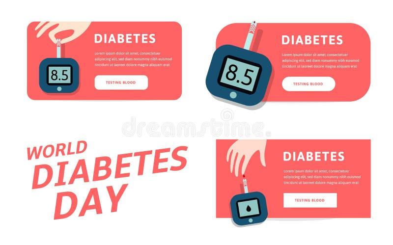 Giornata mondiale del diabete, modello di infographics di vettore per il web Illustrazioni di vettore per industria farmaceutica  illustrazione vettoriale
