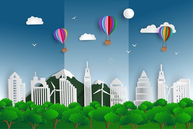 Giornata mondiale dell'ambiente, concetto di ecologia con il fondo verde di scena di arte della carta del paesaggio della natura illustrazione di stock