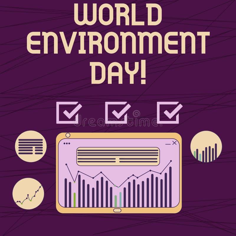 Giornata mondiale dell'ambiente concettuale di rappresentazione di scrittura della mano Foto di affari che montra consapevolezza  royalty illustrazione gratis