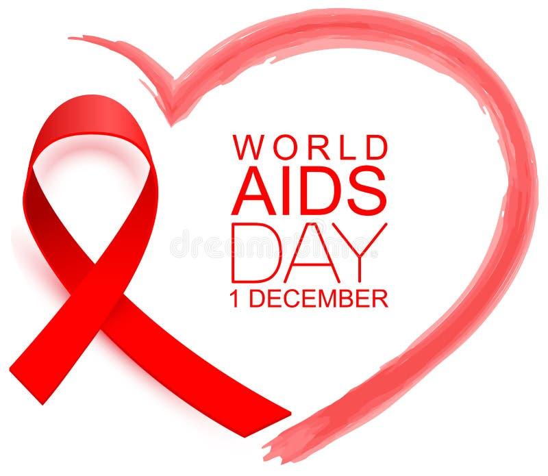 Giornata Mondiale per l'AIDS 1 dicembre, simbolo del nastro rosso speranza e sostegno Forma del cuore rosso royalty illustrazione gratis