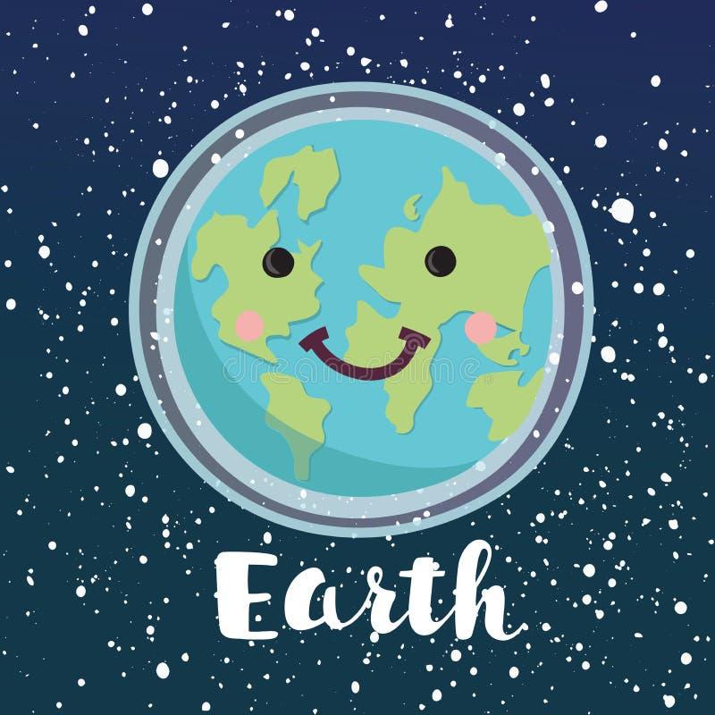 Giornata per la Terra felice Carattere del pianeta Pace del mondo Illustrazione piana del fumetto di vettore royalty illustrazione gratis
