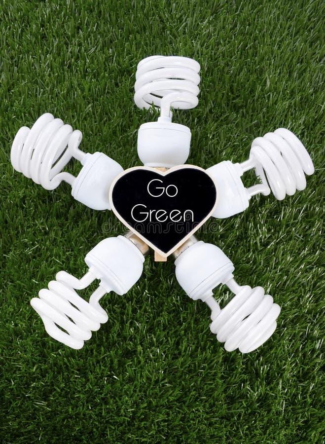 Giornata per la Terra, il 22 aprile, concetto con le lampadine economizzarici d'energia immagini stock
