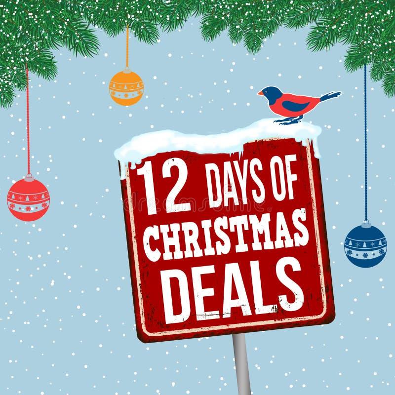 12 giorni del segno arrugginito d'annata del metallo di affari di Natale illustrazione vettoriale